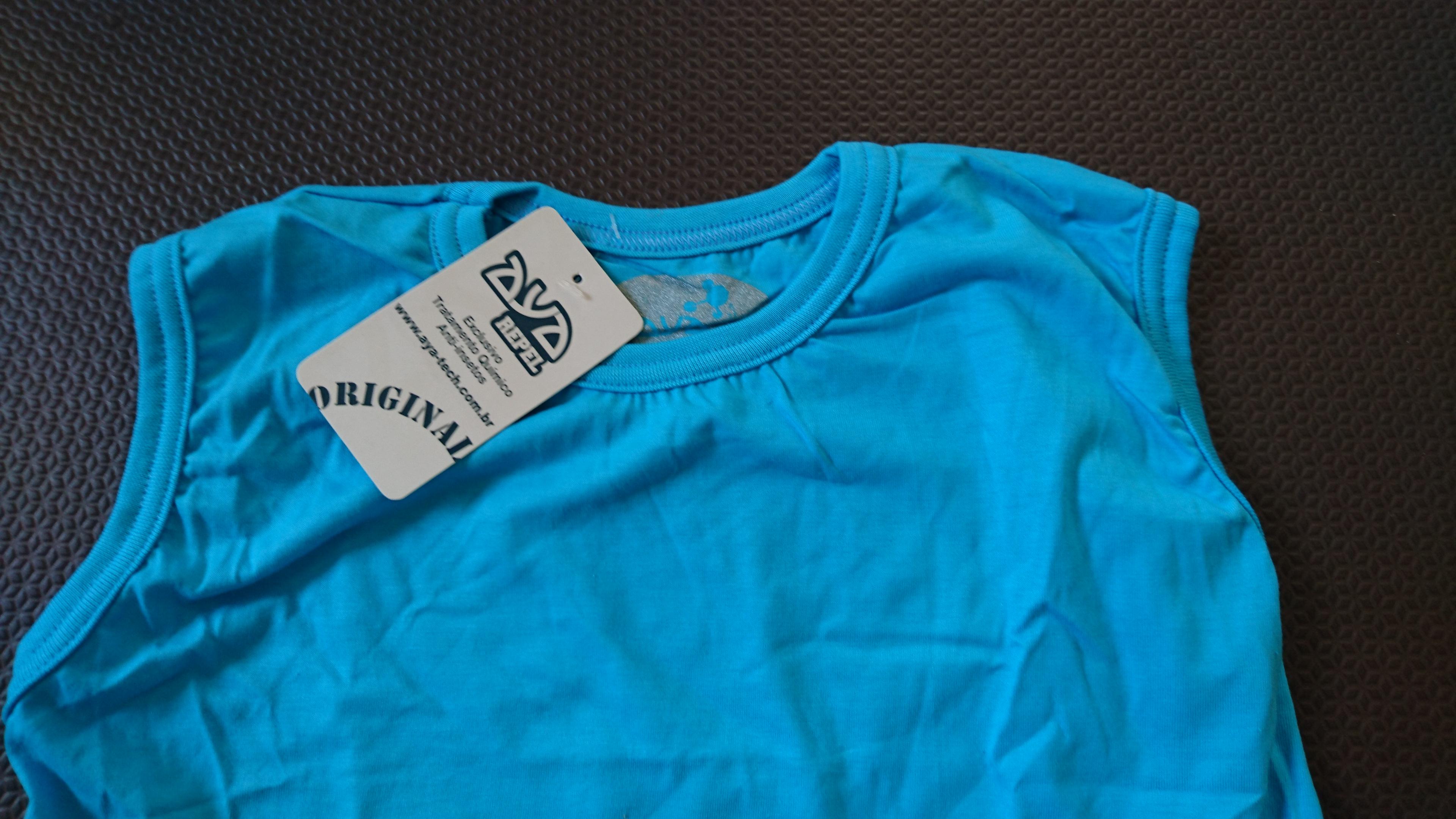 48124ad91297f Camiseta Repelente Aya Repel Regata Infantil Azul Piscina 12 anos sem  estampa